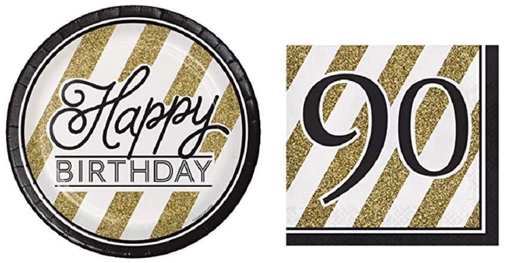 Black and Gold Happy 90th Birthday Party Bundle with Paper Plates and Napkins for 16 Guests by Creative Converting Party Creations