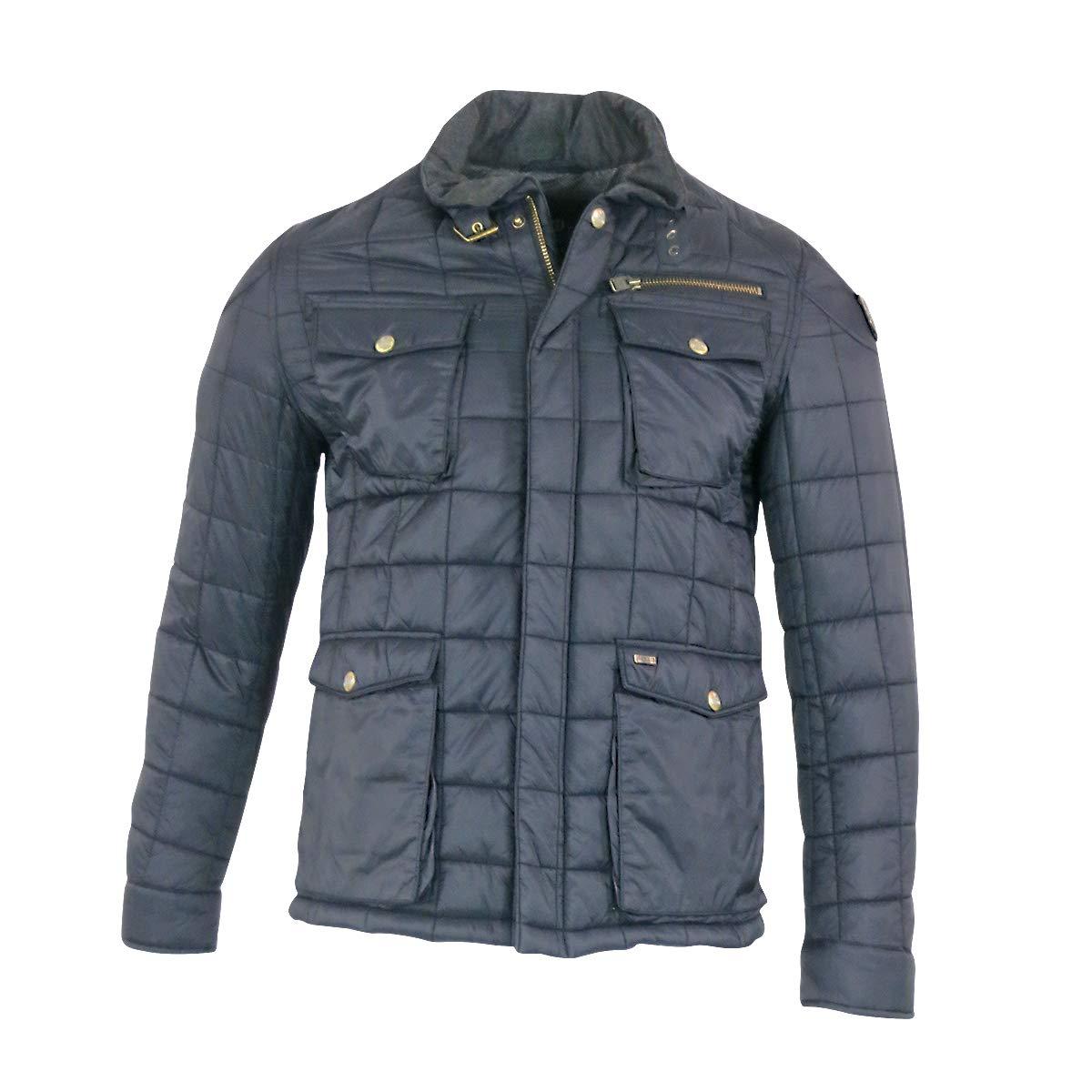 Vanguard Herren Lederjacke Bikerjacke Blau Petrol Jacke für Männer