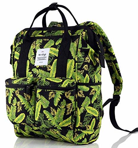HotStyle DISA Mochila Tropical Bolsas Mujer para Notebook 14-inch (44x27x17cm) - Flamencos tropicales D159D, Verde