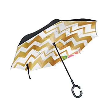 28bdec9a2fc7 Amazon.com: Reverse Umbrella Gold Letters Love With Arrow Chevron ...