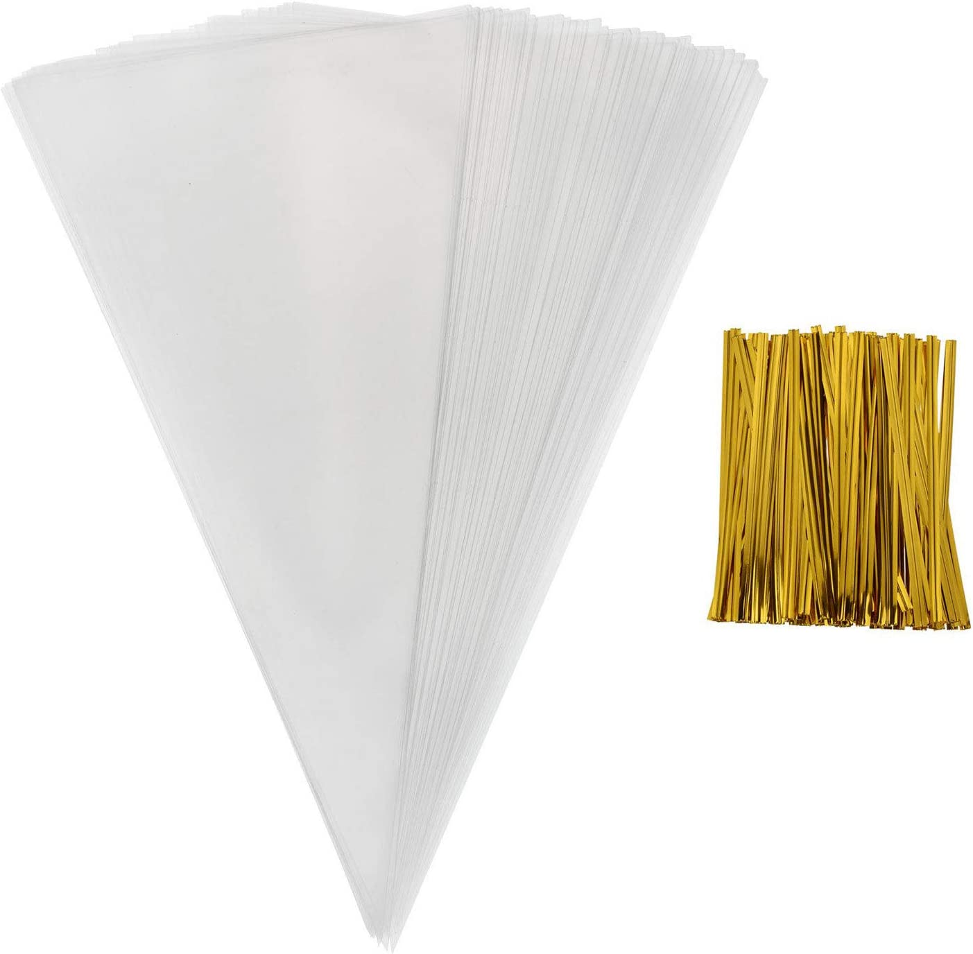 Cellophane Bag, Sweets Clear Cone Bags and Ties for Party Christmas and Festivals, 50pcs 26x18cm(L,W)