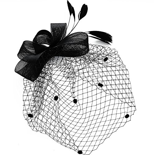 Womens Vintage Hats Headdress Bridal Fascinator Black Bowknot Flower Mesh Hat Hair Clip Wedding Party Face Veil Headbands (Black)]()