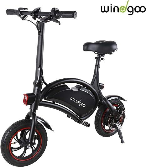Windgoo Bicicletta Elettrica Pieghevole, Senza Pedali, Sedile Regolabile, Compatta Portatile, Potenza 350 W Batteria 36V 6,0 Ah, Autonomia 20km,