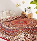 Popular Handicrafts Mandala Bohemian Psychedelic Intricate Floral Design Kerala Tapestry Magical Thinking Tapestry Indian Bedspread Tapestry 54×84 Inches,(140cmsx215cms) Red Review