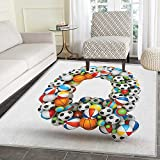 Letter Q Area Rug Carpet Typographic Letter Font Design with Various Gaming Balls Athletic Kids Teamplay Living Dining Room Bedroom Hallway Office Carpet 4'x5' Multicolor
