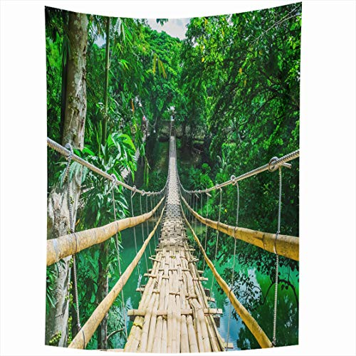 AlliuCoo Wall Tapestries 50 x 60 Inches Green Tropic Bamboo Pedestrian Suspension Bridge Over River Tropical Forest Philippines Scenery Home Decor Wall Hanging Tapestry Living Room Dorm (Black Tapestry Transitional)