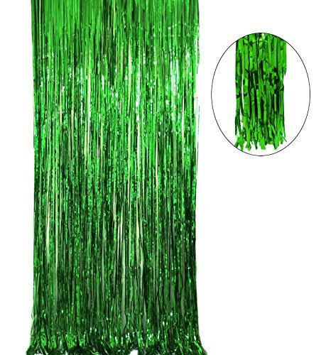 (Big 3ft x 8ft Fringe Foil Curtain Party Tinsel Back drop Party Wedding Decoration (1 PACK, Green))