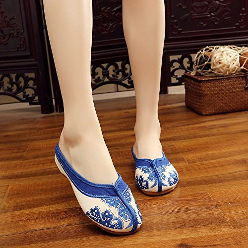 Chinese Blue Slippers Style Canvas Embroidered White and Shoes Sandals Cute Porcelain Blue Women rWrxqwZf87