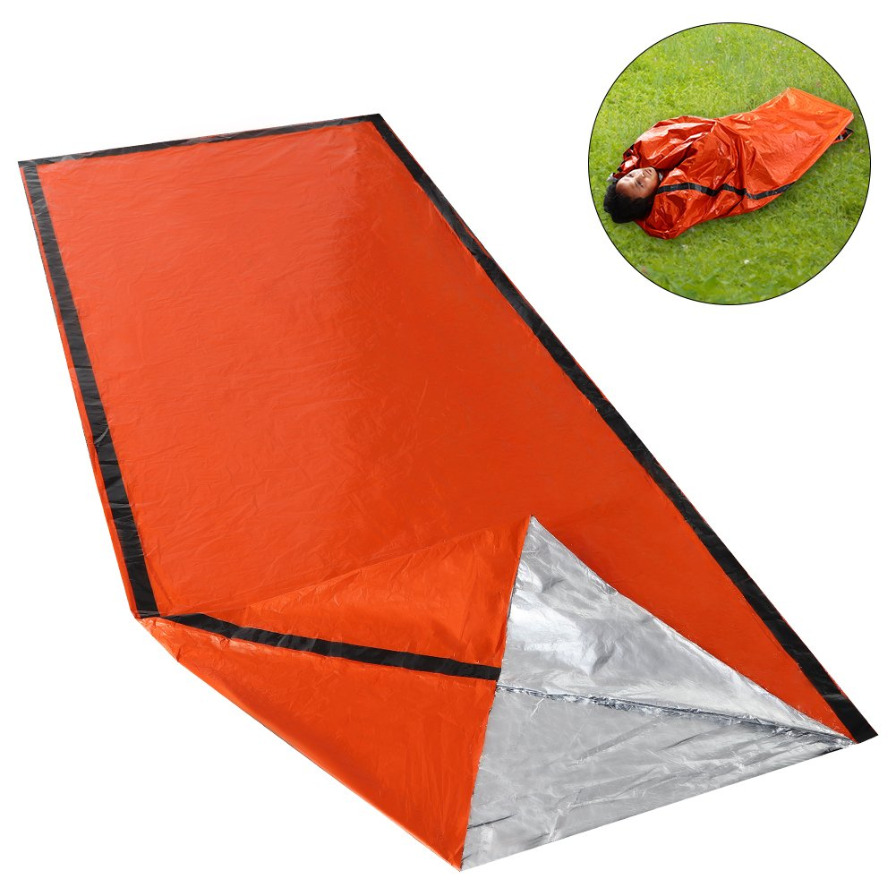 Emergency Survival Sleeping Bag - 3 FT x 7 FT(36''x84'') Lightweight Mylar Thermal Bivvy,90% Heat Retention to Keep Warm for Camping Outdoor Activities,Orange