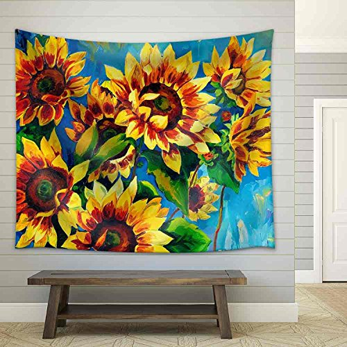 Tapestry Wall Hanging Yellow Sunflower Bloom Tapestry Nature Tapestry Golden And Blue Wall Decor for Bedroom Living Room Dorm Decor 79X59 Inch