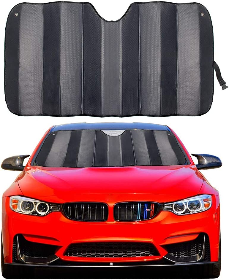 "MCBUTY Car Windshield Sunshade Thicken 5-Layer UV Reflector Auto Front Window Sun Shade Visor Shield Cover,Keep Vehicle Cool(Gary,55"" × 27.5"")"