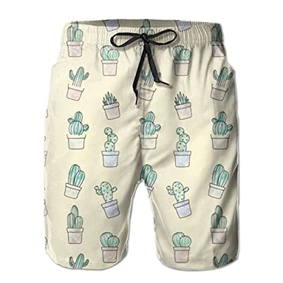 Game Life Shorts Cactus Mens Tree Quick Dry Swim Trunks Beach Shorts with Mesh Lining
