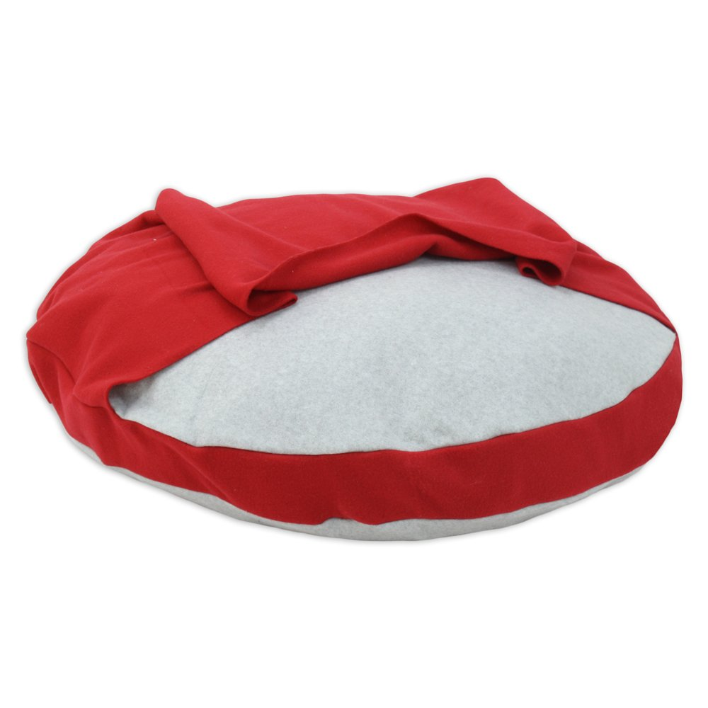 Brite Ideas Living Fleece Light Grey 33-Inch Round Pet Bed with Red Hoodie