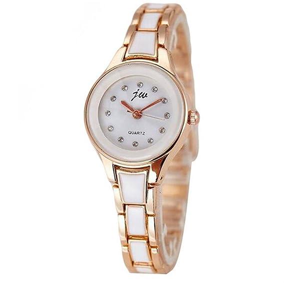 Mixe elegante joyería reloj mujer cerámica oro rosa pulsera de diamantes de cristal de cuarzo vestido