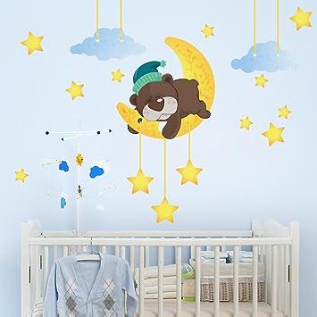 r00097 adesivo murale per bambini wall art - orsetto che dorme ... - Decorazioni Pareti Orsetti