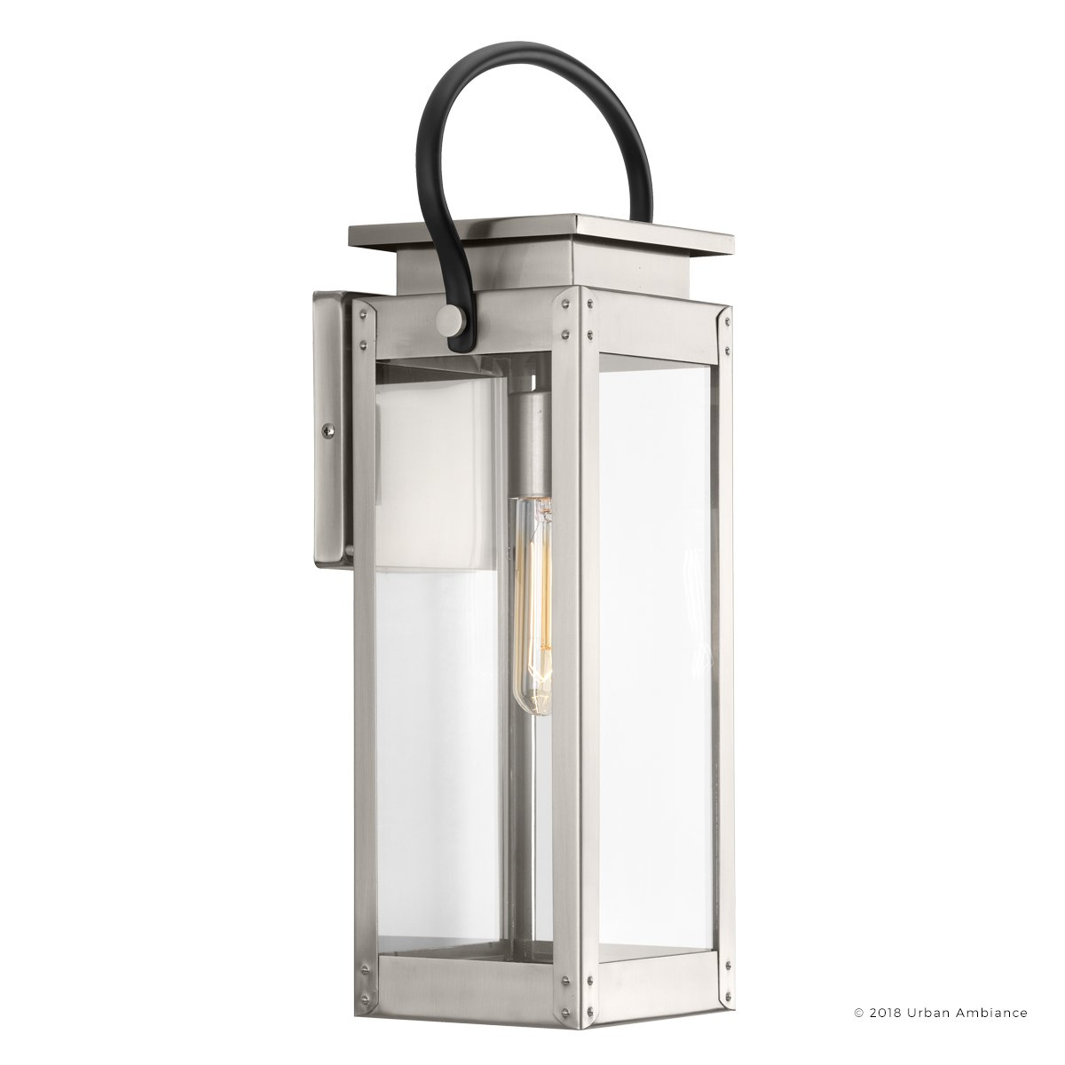 Luxury Modern Farmhouse Outdoor Wall Light, Medium Size: 19.375''H x 7.875''W, with Nautical Style Elements, Stainless Steel Finish, UHP1131 from The Darwin Collection by Urban Ambiance