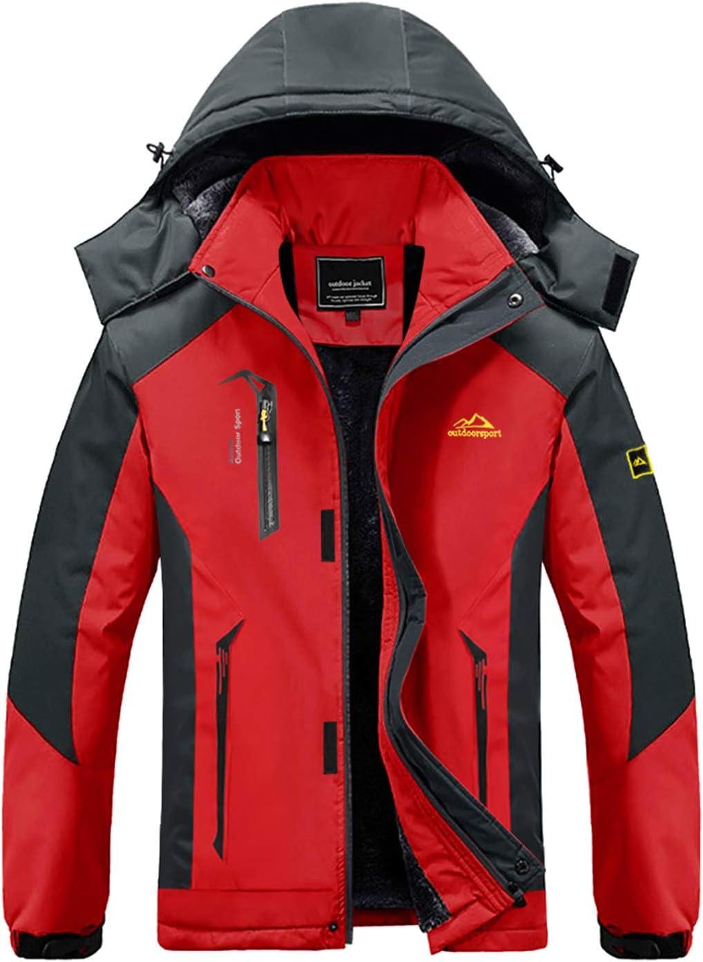 MAGCOMSEN Mens Outdoor Fleece Jacket Winter Waterproof Warm Ski Mountain Jackets with Hood