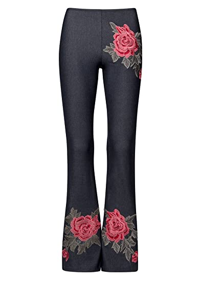 47e5f34abe Womens Floral Rose Embroidered Flared Bell Bottom Pants - Size Small ...