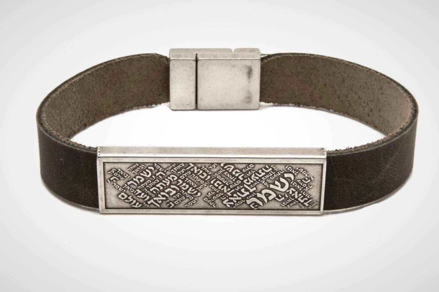 Unique Handmade Religious Hebrew mens Jewelry Silver plated bracelet for men and women Adjustable Brown Leather bracelet engraved withShir Lamaalot prayer Israeli unisex gift Jewish Jewelry