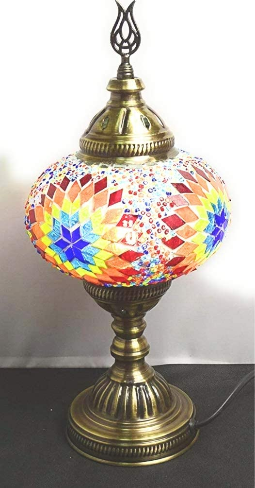 Lampara turca sobre mesa 38 cm x bola de 18 cm de diámetro - mosaico turco