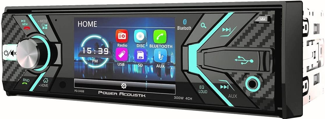 "Power Acoustik 348B 1-DIN CD/MP3, AM/FM Receiver with Bluetooth 4.0 & Detachable 3.2"" LCD, Black"