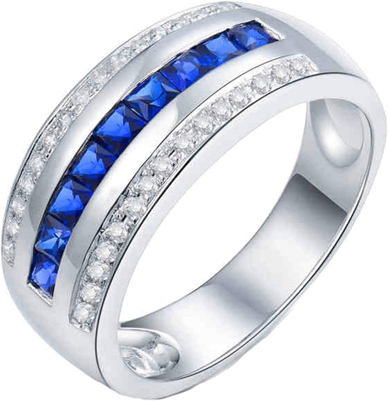 Aartoil Alianzas de boda de oro blanco de 18 quilates para hombre, zafiro cuadrado de 1 quilates con diamante de 0,24 quilates, anillo de compromiso de Navidad, regalo de San Valentín (tamaño x 1/2)
