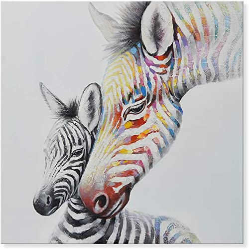 SEVEN WALL ARTS 100 Hand Painted Oil Painting Animal Colorful Zebra Mother and Child Modern Wall Art with Stretched Frame Ready to Hang 24×24 Inch