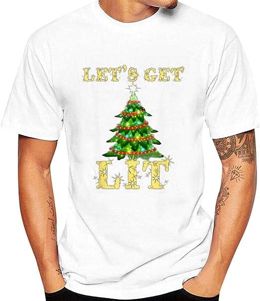 LANSKIRT Camisas Casual para Hombre Camisetas de Navidad Manga Corta Santa Claus Jersey Tops de Otoño E Invierno Blusas Deportivos para Christmas: Amazon.es: Ropa y accesorios
