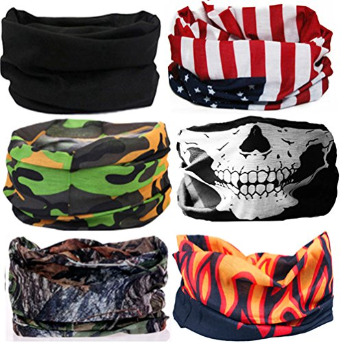 Cool Oringinal Design 6 Pack Head Band Bandana Protective Multi-use Seamless Breathable Neck and Head Tube Gaiter - Design A Bandana