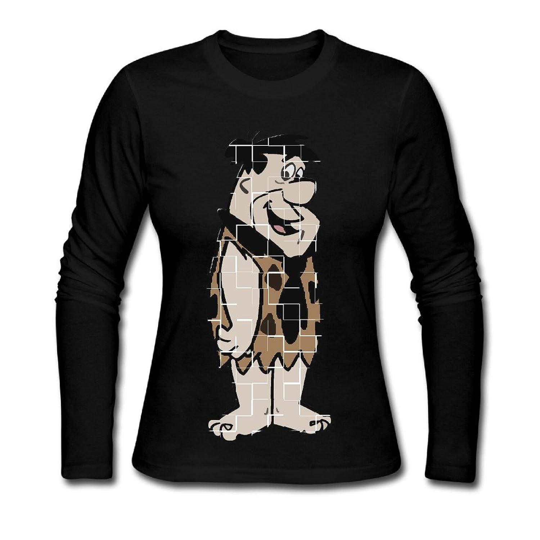 USM-women The Flintstones Fred Flintstone Long Sleeve Tees Shirt.