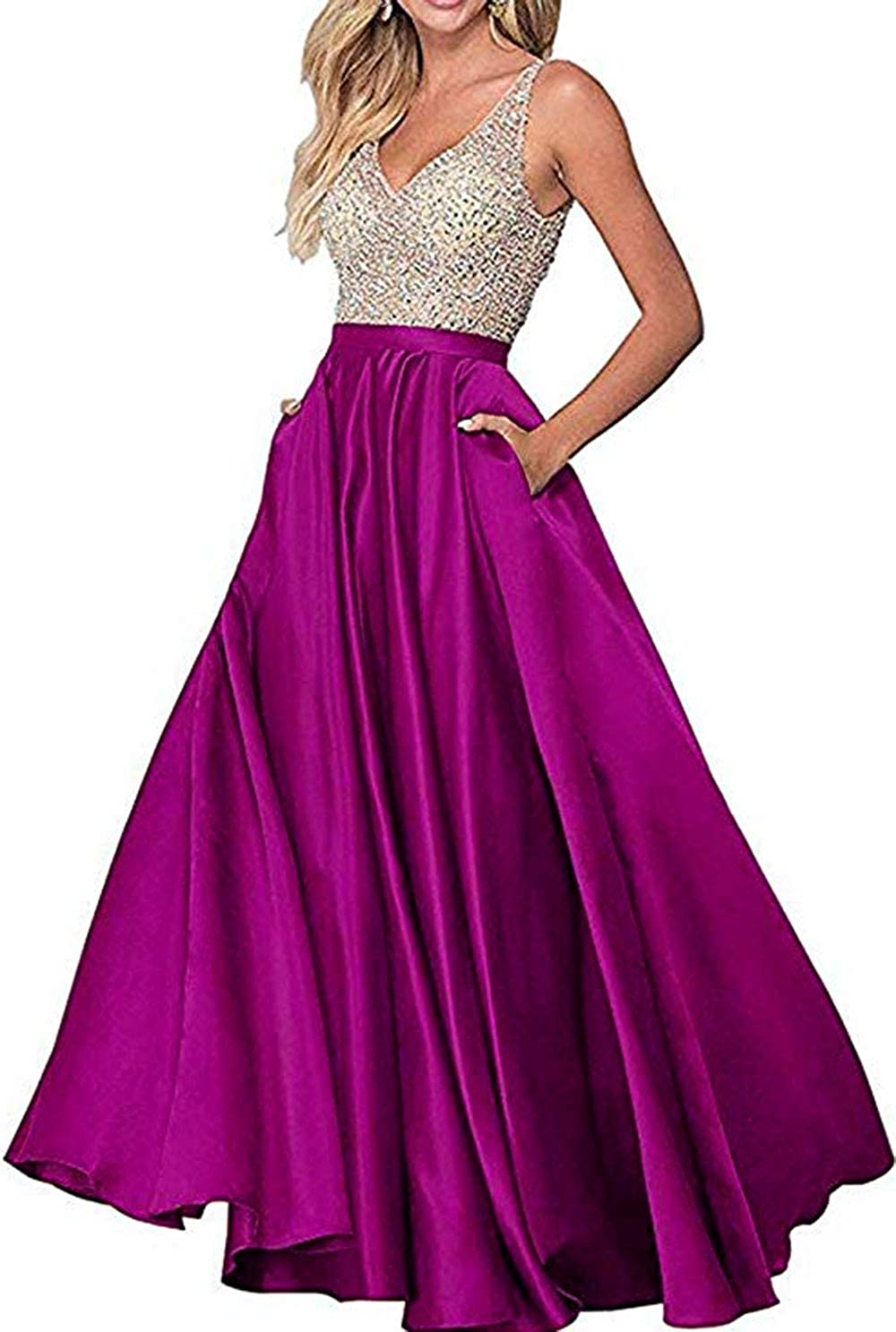 Fuchsia Rmaytiked Womens VNeck Beaded Bodice Long Prom Dresses A Line Satin Formal Evening Ball Gowns with Pockets 2019 New