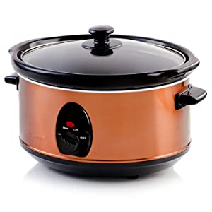 Ovente Electric Slow Cooker, 3.5L, Heat-Tempered Glass Lid, Adjustable Temperature Control, Ceramic Inner Pot, Cool Touch Handle, Orange (SLO35ACO)