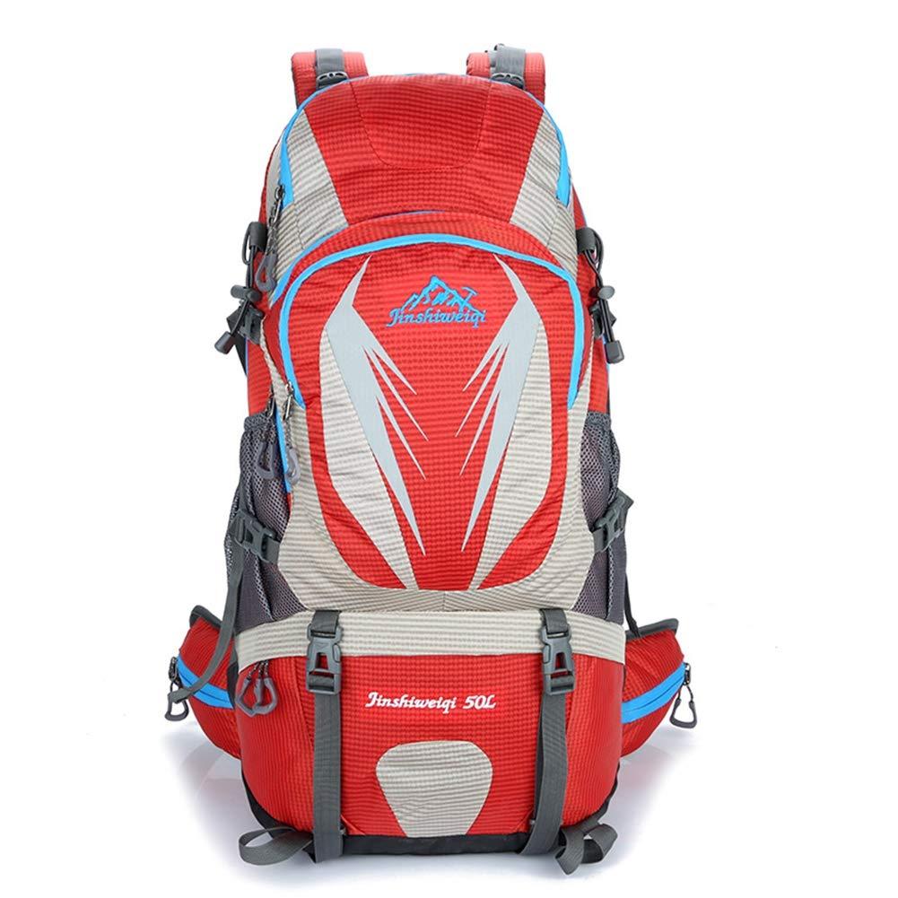 AHWZ 50L ハイキングバックパック 防水バックパック アウトドアスポーツバックパック 旅行 ハイキング キャンプ バックパック  レッド B07J1ZS3ZW