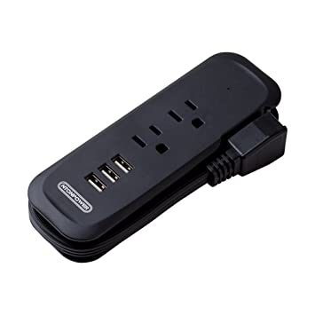 Travel Power Bar With 3 USB And 2 AC Outlet Charger Portable Flat Plug  Right Angle