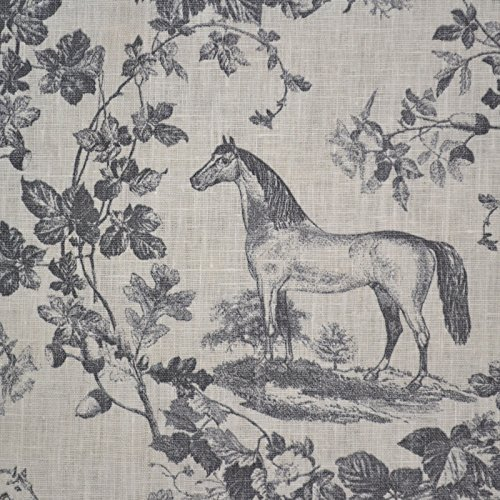 - 100% Linen Fabric Equestrian Horse Print 'The Noble Horse' in Traditional Toile De Jouy Style - Grays on Soft Cream White Pure Linen Cloth - French Designer Fabric 55 Inches Wide ~ Sold By the Yard