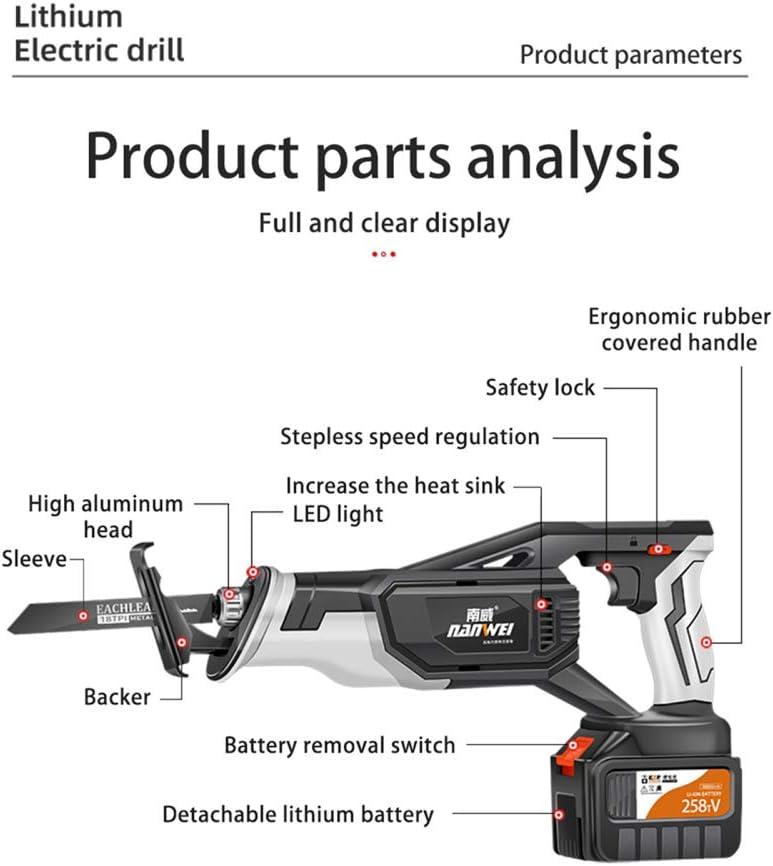 TTLIFE Scie Sabre sans Fil 20V avec piles 4500 mAh Batteries Li-ion,lumi/ère LED Scie Alternative sans Fil Vitesses R/églables 0-3600RPM 8 Lames pour M/étal//Bois//PVC