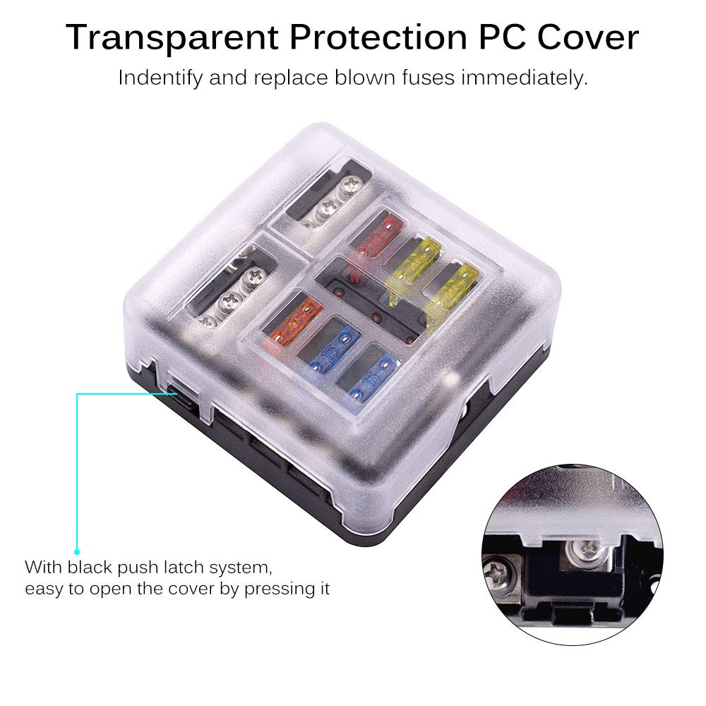 SUNJULY 6 Way Fuse Block Blade Fuse Box Holder 6 Circuit Car Ato//Atc Fuse Block Waterproof with LED Light Indication /& Protection Cover for 12V//24V Automotive Truck Boat Marine Bus RV Van Vehicle