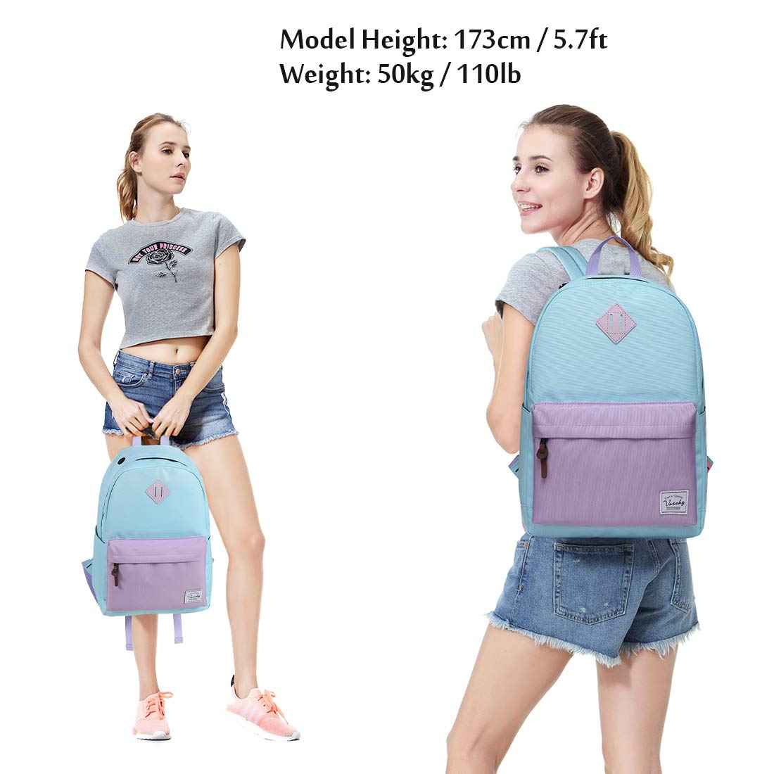 Backpack for Teen Girls, Vaschy Classic Water Resistant School College Bookbag Casual Daypack Travel Rucksack with Bottle Pockets Fits 15Inch Laptop (Sky Blue Purple) by VASCHY (Image #2)