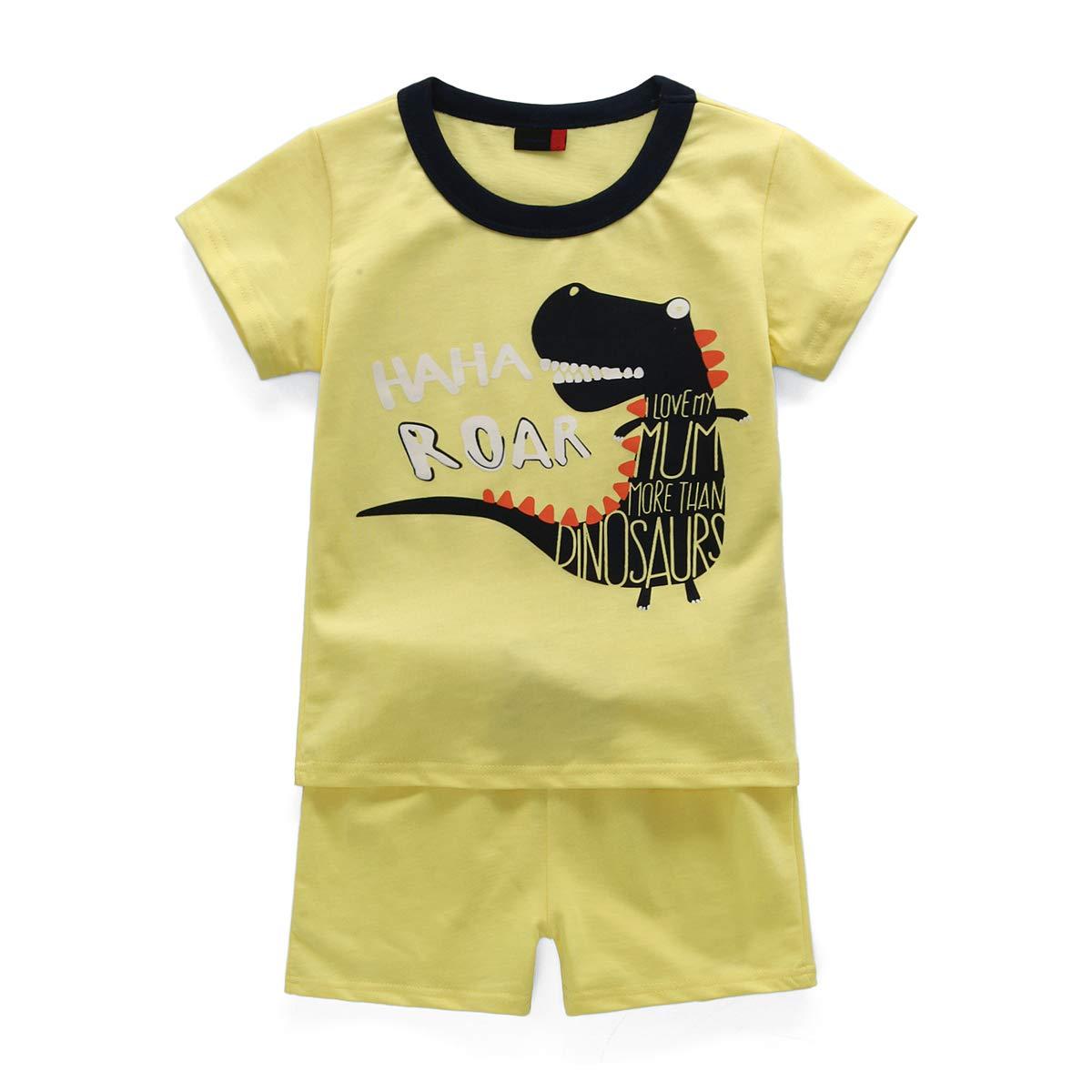 Pigiama Bambino Estivo HIKIDS Giallo Pigiama a Maniche Corta per Ragazzi Dinosauro Maniche Corte e Pantaloncino 1-8 Anni