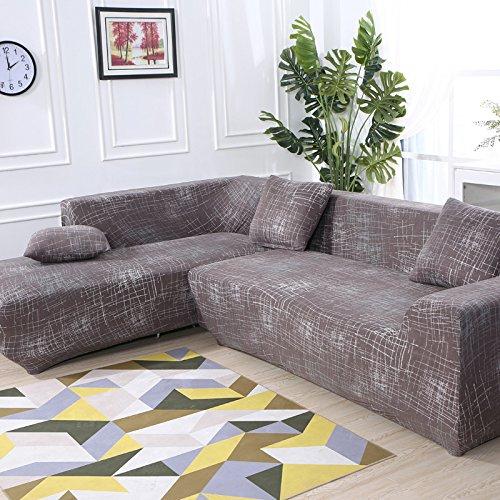 Eleoption Sectional Sofa Slipcover Couch Cover, Universal Stretch Fabric Sofa Slipcover 2Piece for Sectional Sofa L Shape Couch Protector Gift Pillow Cover (Western Style, L-style 3+3 Seater)