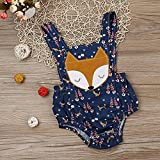AMA(TM) Newborn Infant Baby Boys Girls Denim Fox Print Backless Sleeveless Romper Jumpsuit Onesies Clothes (6M, Blue)