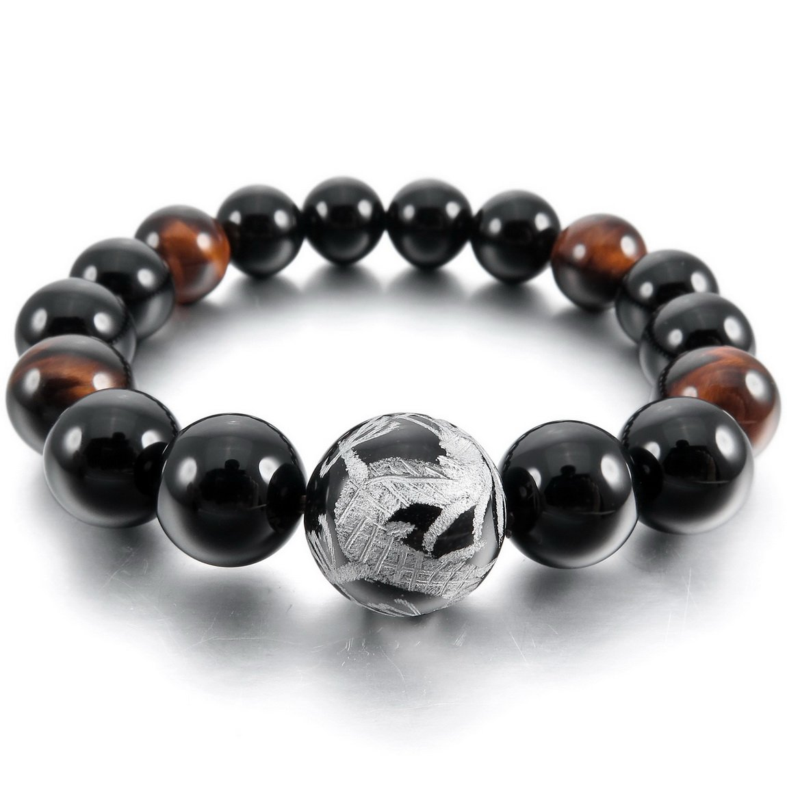INBLUE Men,Women's 12mm Energy Bracelet Link Wrist Energy Stone Black Silver Tone Dragon Buddha Mala Bead