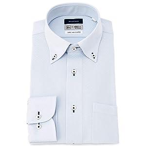 [アイシャツ] i-shirt 完全ノーアイロン ストレッチ 超速乾 レギュラーフィット 長袖 アイシャツ ワイシャツ メンズ サックス 長袖ボタンダウン M15120001581 日本 3L82(首回り45cm×裄丈82cm) (日本サイズ3L相当)