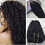 Moresoo 18 Inch Curly Clip ins Full Head Set Kinkys Curly Clip in Brazilian Hair Extensions 100% Remy Haie 7 Pieces 120g Clip in Hair Extensions