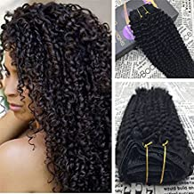 Moresoo 16 Inch Kinky Curly Clip in Human Hair Extensions Curly Clip ins Human Hair Brazilian Hair Off Black Full Head Set Clip in Extension for Black Women