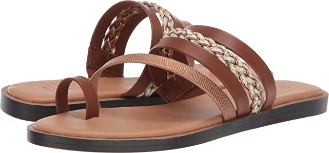 Kenneth Cole REACTION Women's Scroll Toe Loop Medium Brown Multi Synthetic 5 M US