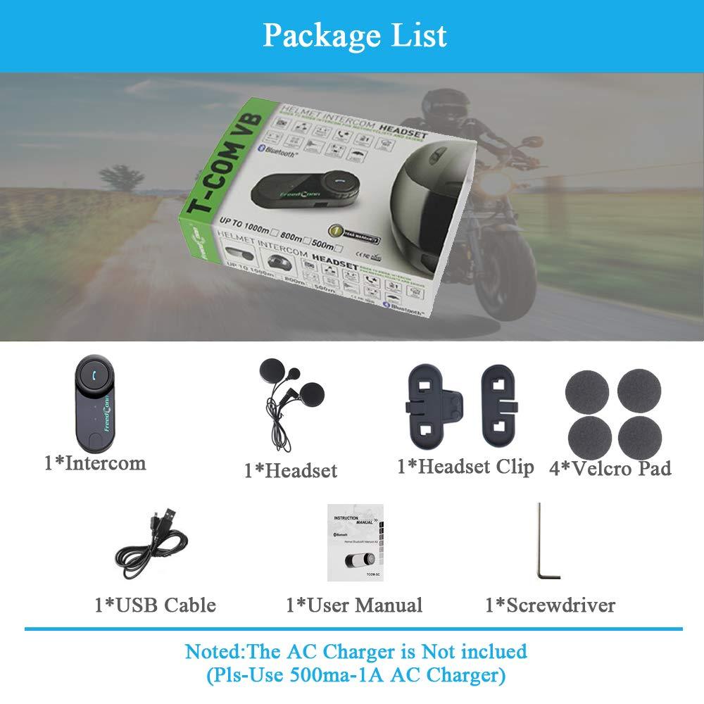 Sistema de comunicaci/ón para Bluetooth Interfono,FreedConn TCOM-VB Casco de la Motocicleta Bluetooth Intercomunicador Manos Libres Radio FM Mp3 GPS 800M Impermeable 2 Pieza Cable Suave