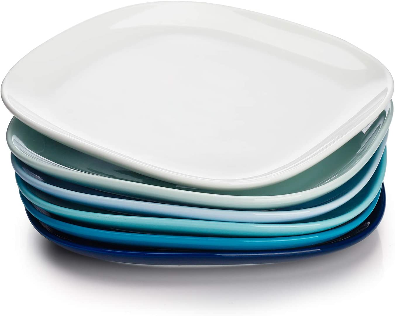 Sweese 152.003 Porcelain Square Dinner Plates - 10 Inch - Set of 6, Cool Assorted Colors