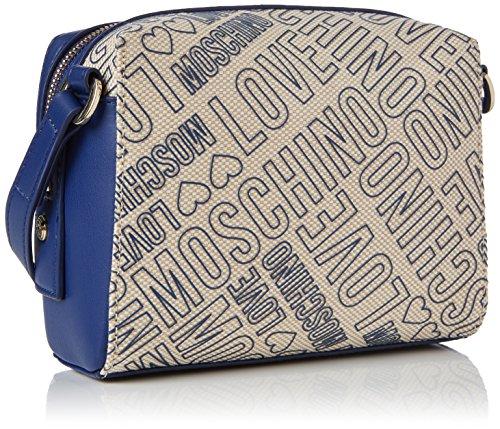 Borsa tracollina Moschino Love in canvas ed ecopelle Blu (Natural Canvas-blue)