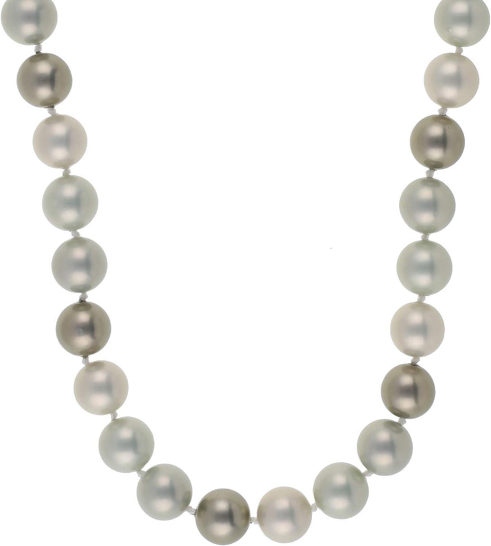 Jewel24 Collar de perlas para mujer de plata de ley 925 con perlas verdes de 52 cm de largo